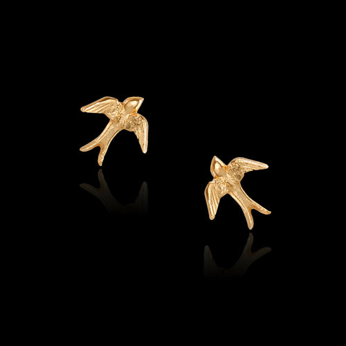 Gold Hibiscus Sweet Nectar Stud Earrings
