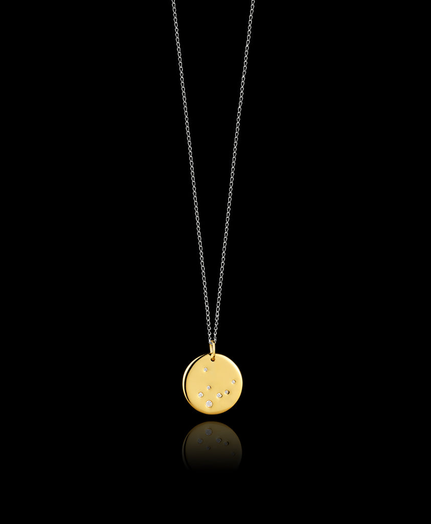 Virgo Zodiac star sign pendant in gold with silver chain. Made by British jewellery designer Catherine Zoraida