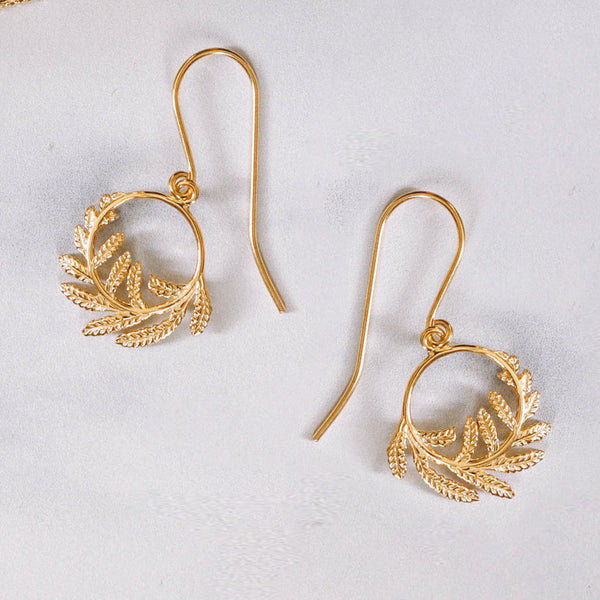 Wee Fern Hoop Earrings, smaller version of our classic Fern Hoop Earrings as seen on HRH the Duchess of Cambridge.