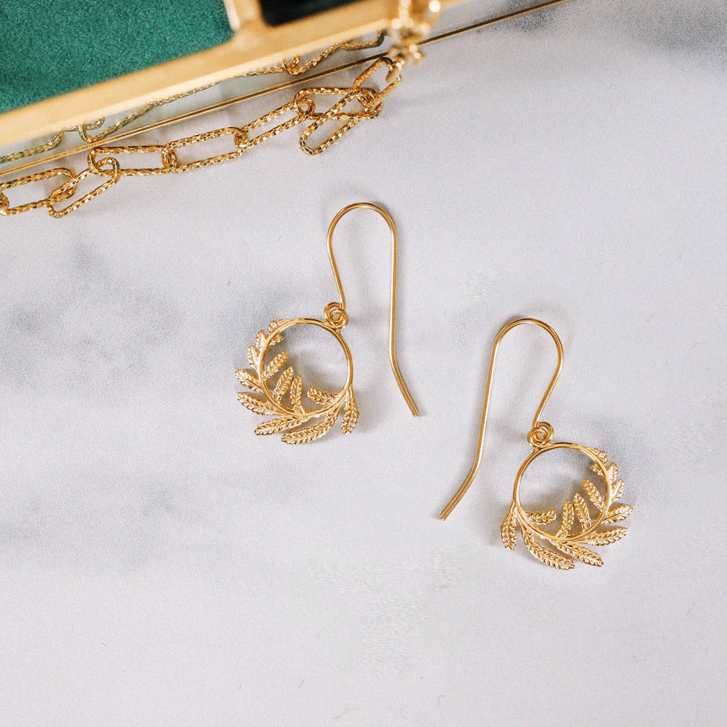 Wee Fern Hoop Earrings by Zoraida London Jewellery