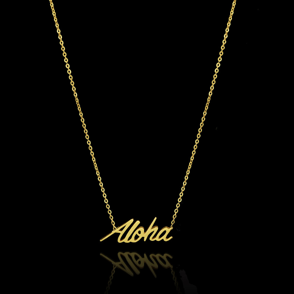 Unique Gold Aloha Necklace by jewellery designer Catherine Zoraida London