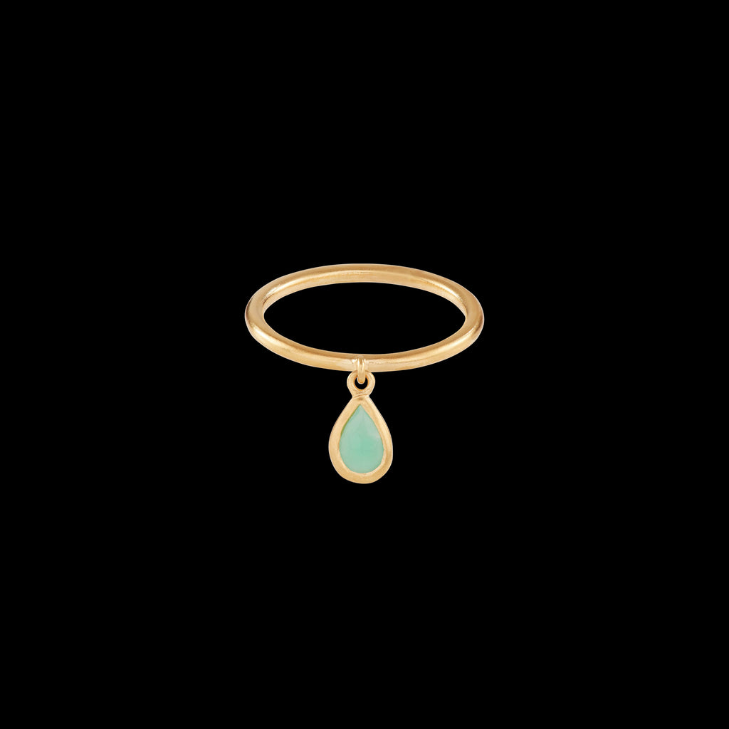 Chrysoprase Polki Raindrop Ring