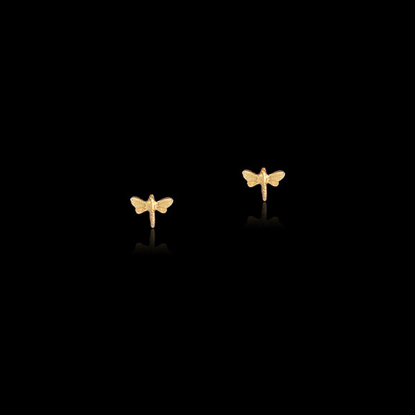 gold dancing dragonflies stud earrings by Catherine zoraida