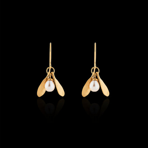 double leaf and pearl earrings by jewellery designer catherine zoraida