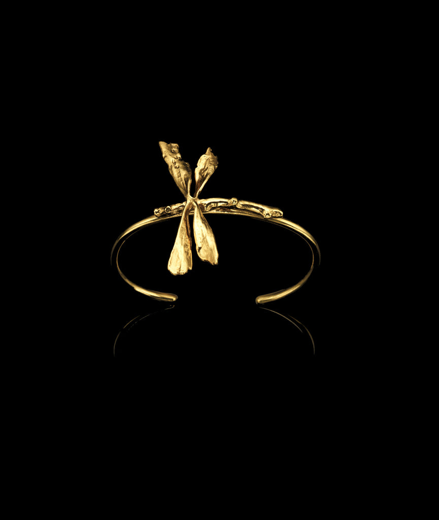 18 carat gold plated Dragonfly Cuff by British Jewellery designer Catherine Zoraida.