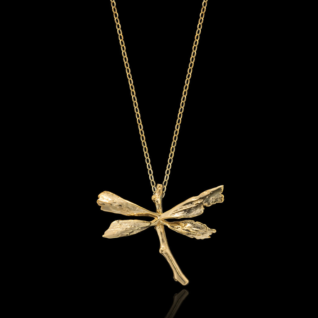 Gold Dragonfly Pendant
