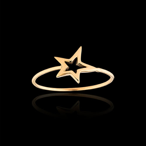 Gold Apple Twig Ring and Diamond Ring