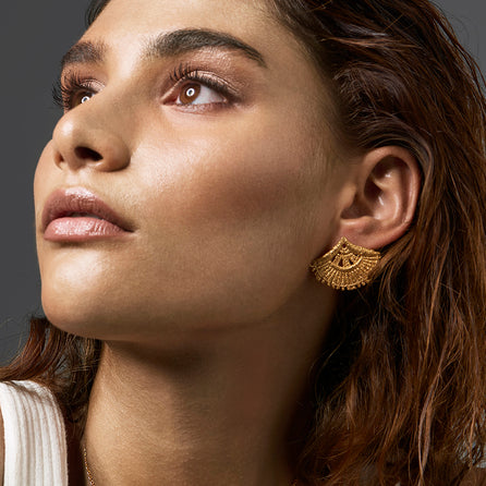 gold fan Earrings by jewellery designer Catherine Zoraida