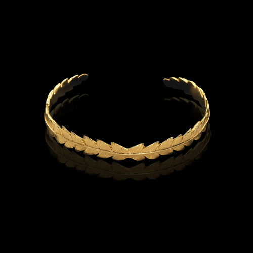 Gold Apple Twig and Diamond Cuff