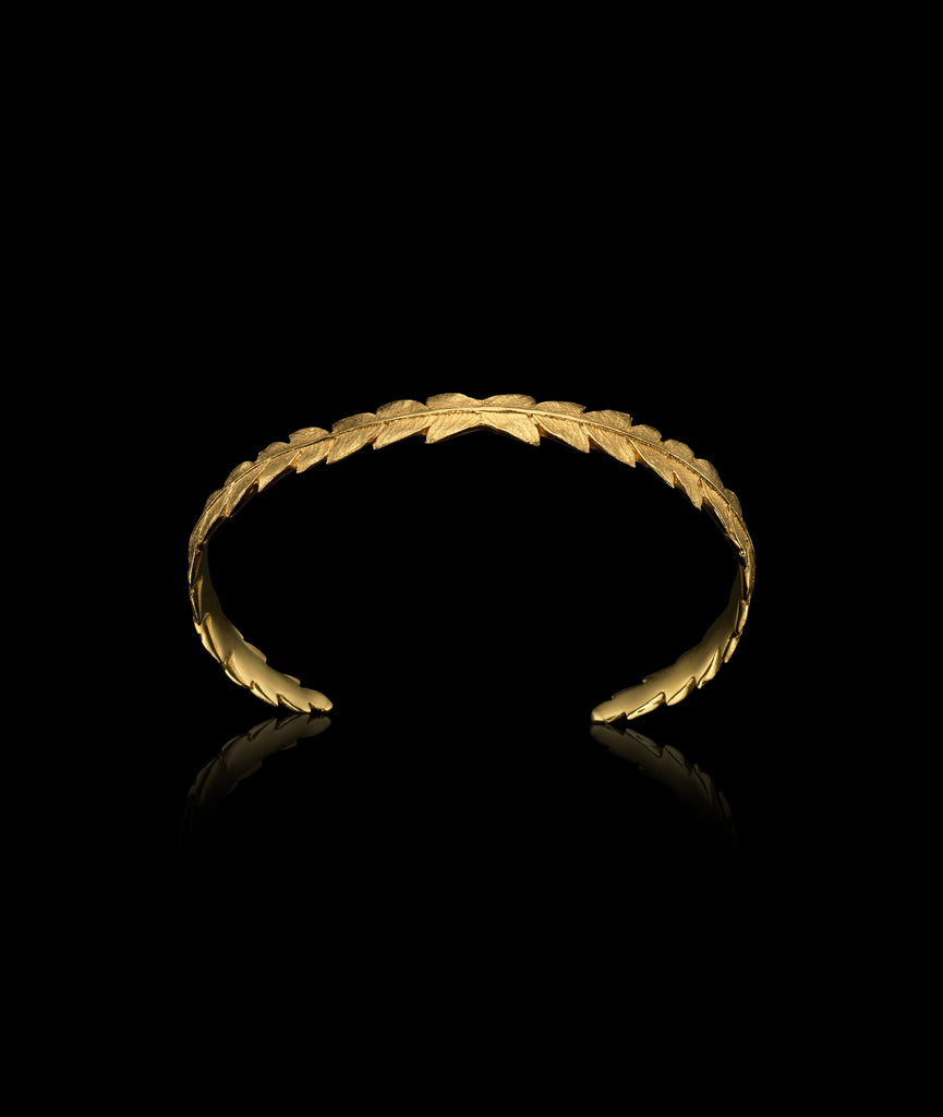 Gold Fern Leaf Cuff from above.