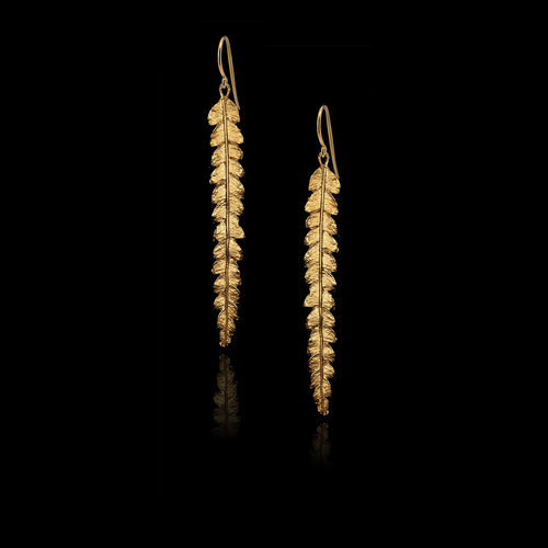 Silver Long Fern Earrings