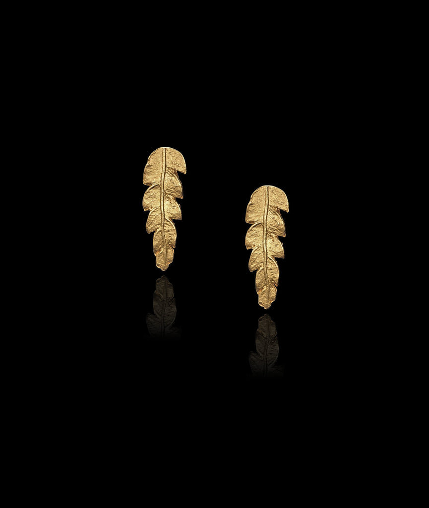 Gold Fern Stud Earrings by jeweller Catherine Zoraida