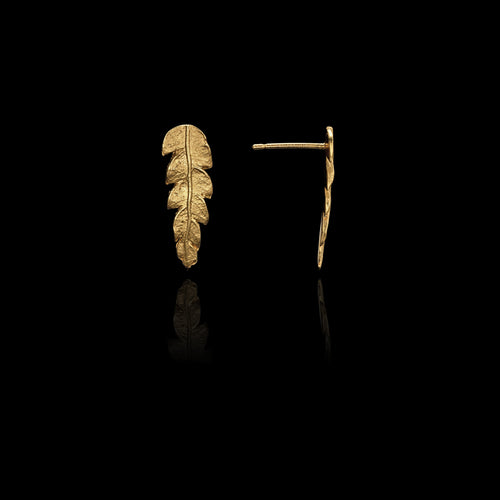 Side view of gold fern Stud Earrings by Catherine Zoraida