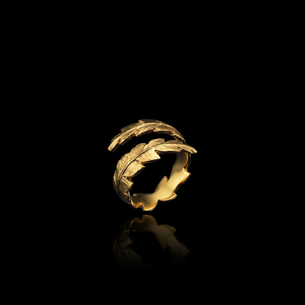 Gold Fern Wrap Ring by Jeweller Catherine Zoraida