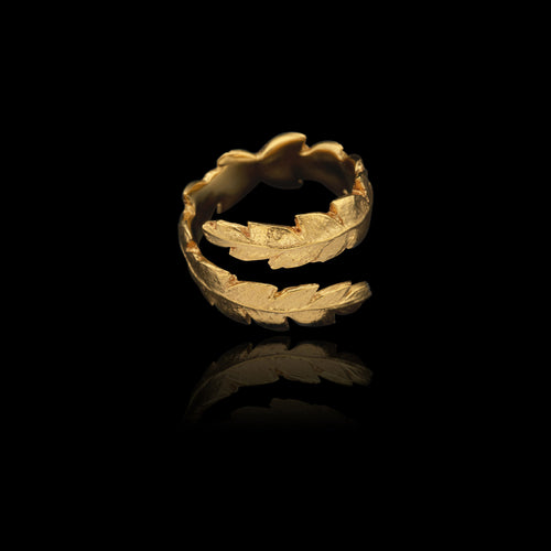 Side view of gold Fern Wrap Ring by Jeweller Catherine Zoraida