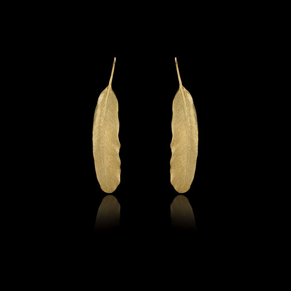 Gold Feather Earrings by Catherine Zoraida