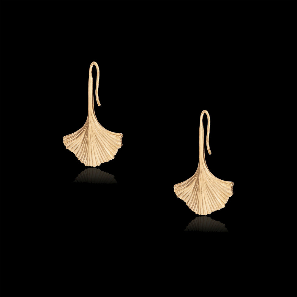 gold ginkgo leaf earrings by catherine zoraida jewellery
