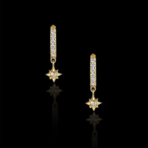 Gold Glitter Hoop and Star Earrings by jewellery designer Catherine Zoraida