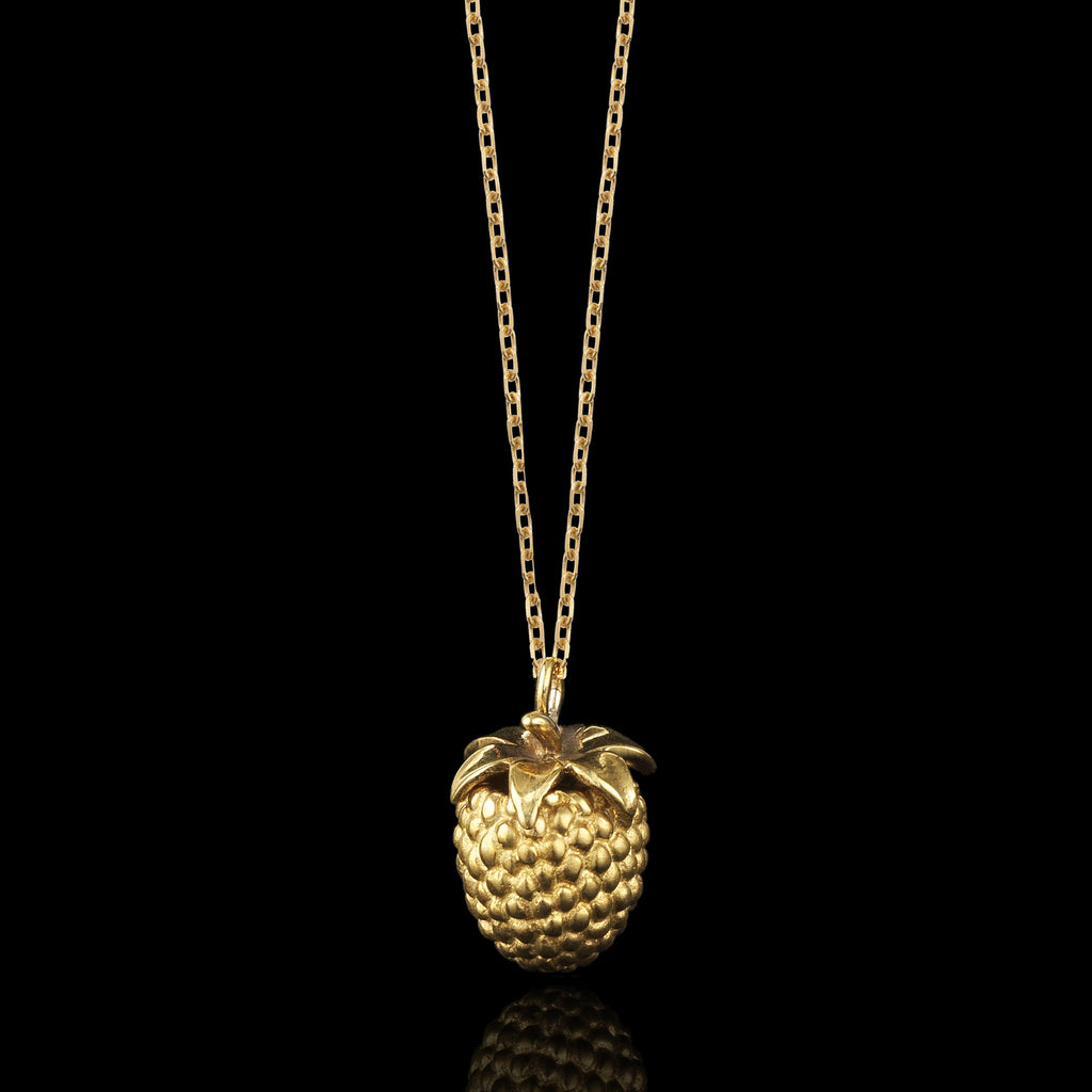 gold mini raspberry pendant by jewellery designer catherine zoraida jewellery