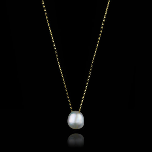 Gold Moonlight Pearl Pendant by british jewellery designer catherine zoraida