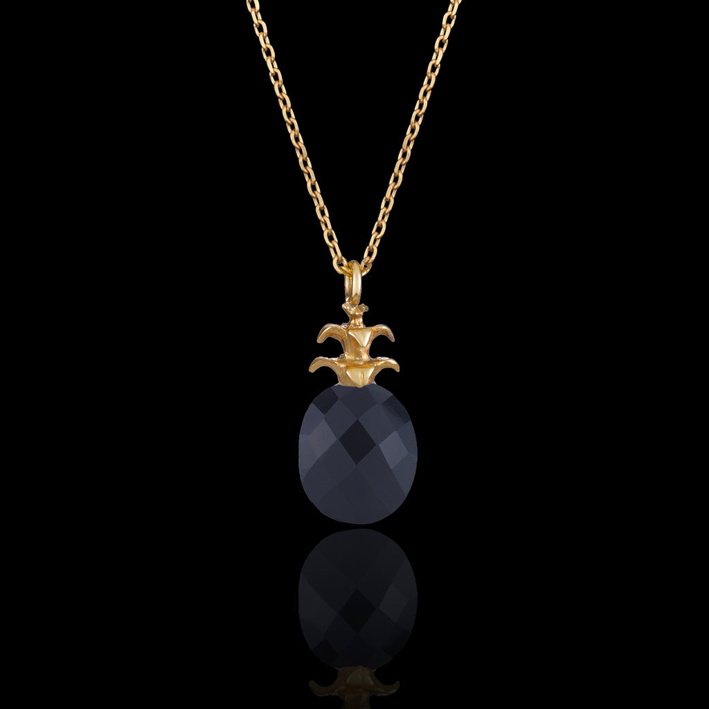 Gold pineapple and onyx pendant by Zoraida London Jewellery