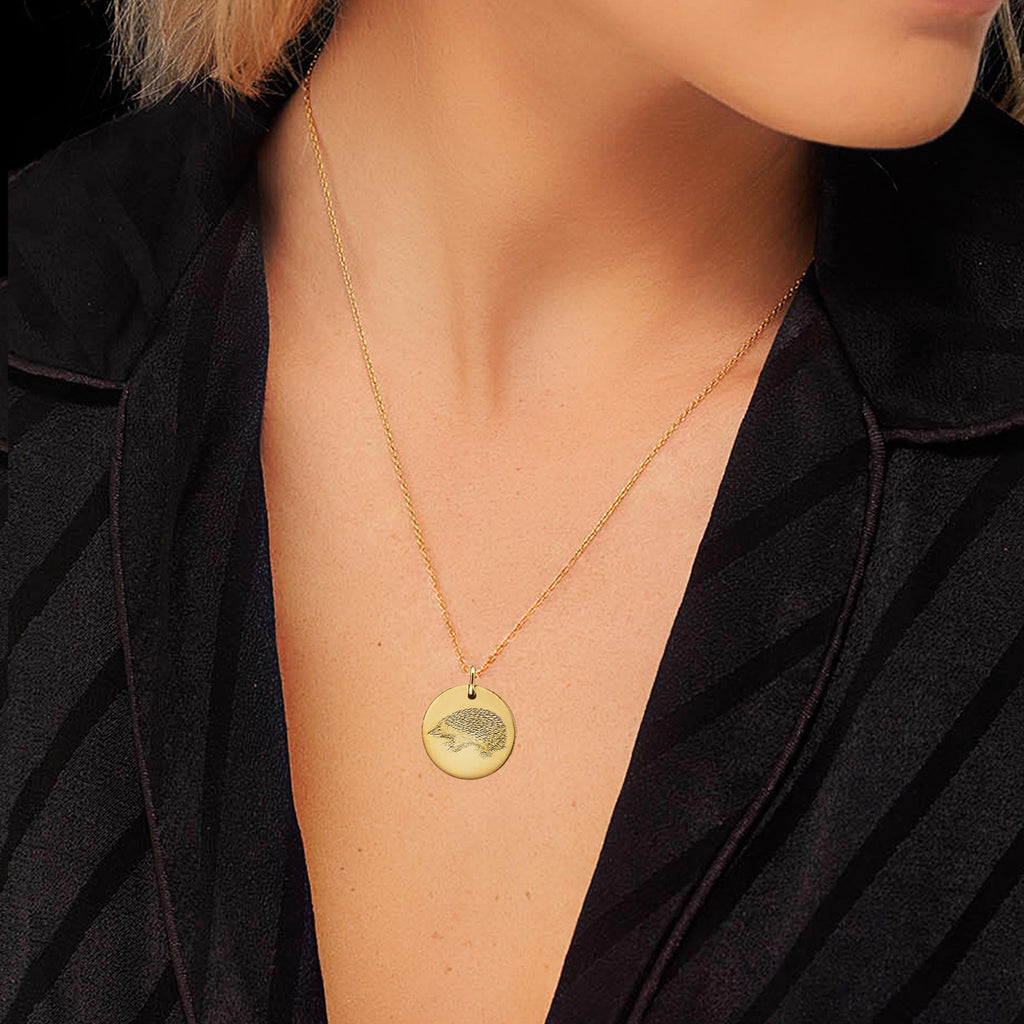 Hedgehog Disc Necklace modelled by fashion blogger Lucy Williams