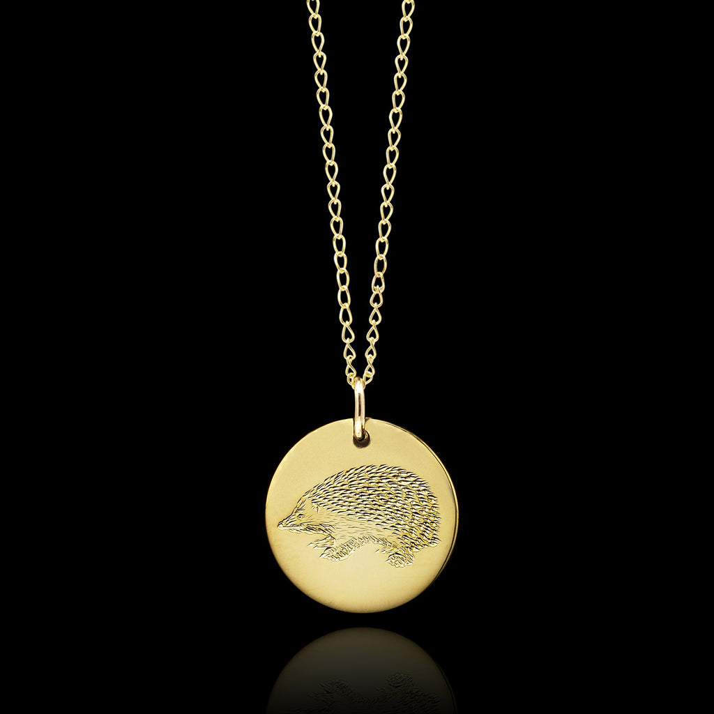 Gold Hedgehog Disc Necklace