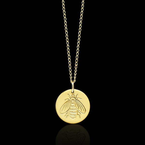 Gold Honeybee Disc Necklace