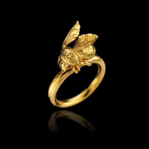 Gold Honeybee and Hibiscus Ring