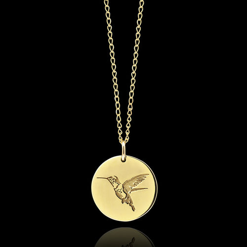 Gold Dragonfly Disc Pendant