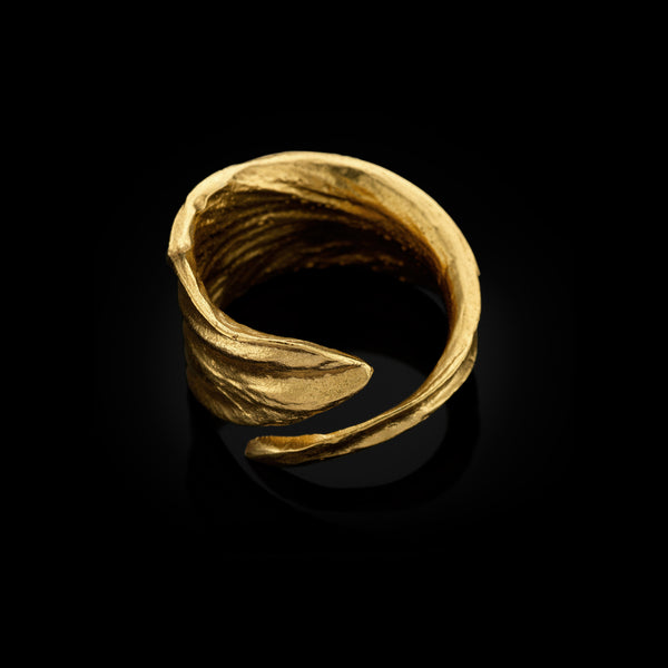gold iris petal ring by jewellery designer catherine zoraida