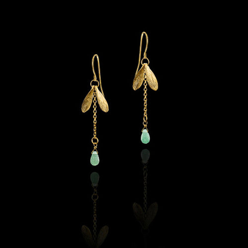 Gold Long Raindrop Earrings
