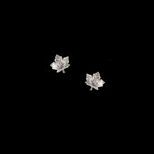 Silver Mini Double Leaf Earrings