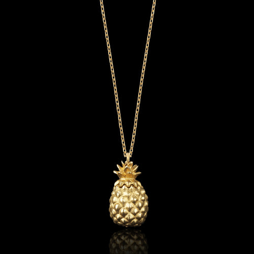Gold Double Leaf and Pearl Pendant