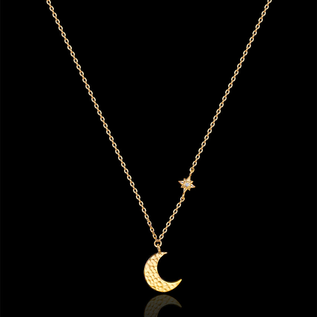Gold Moon and Star Necklace by Catherine Zoraida