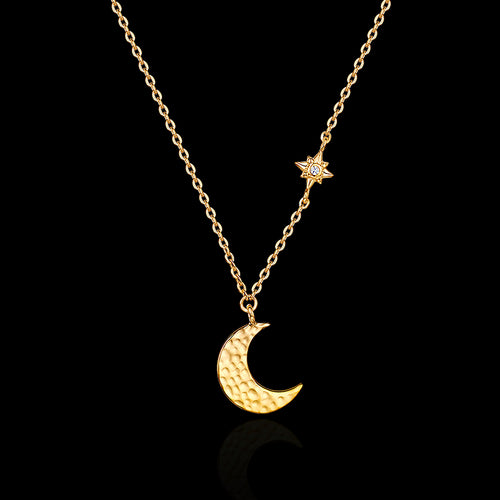 Gold Moon and Star Necklace Catherine Zoraida