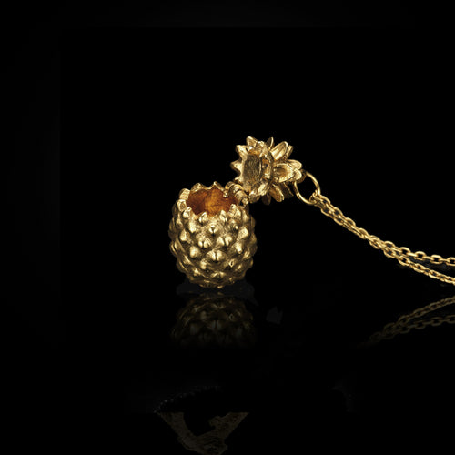 Gold Pineapple Locket Pendant