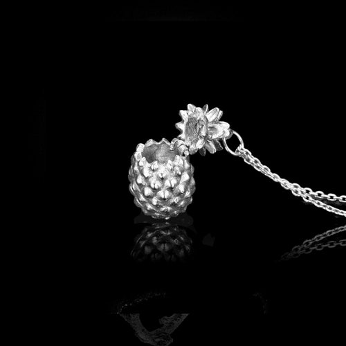 Silver Pineapple Locket Pendant by jewellery designer Catherine Zoraida