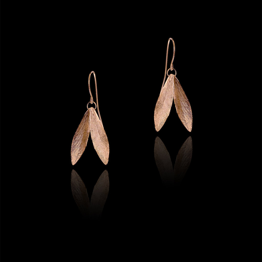 Rose Gold Double Leaf Earrings