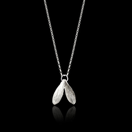 Silver Mini Double Leaf Necklace