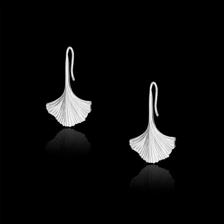 silver ginkgo earrings by catherine zoraida