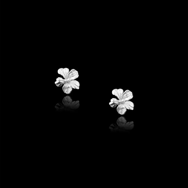 Silver Hibiscus Sweet Nectar Stud Earrings