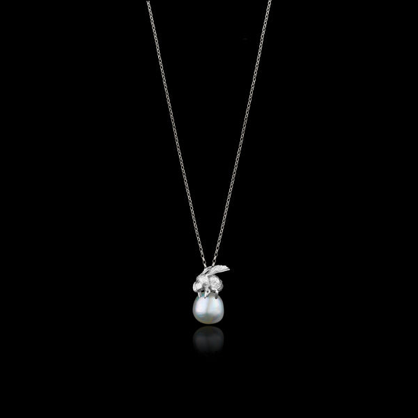 Silver Honeybee and Moonlight Pearl Pendant