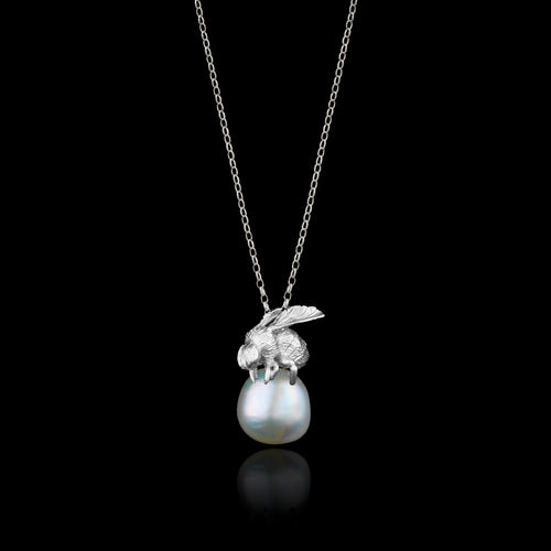Silver Mussel Shell and Pearl Pendant