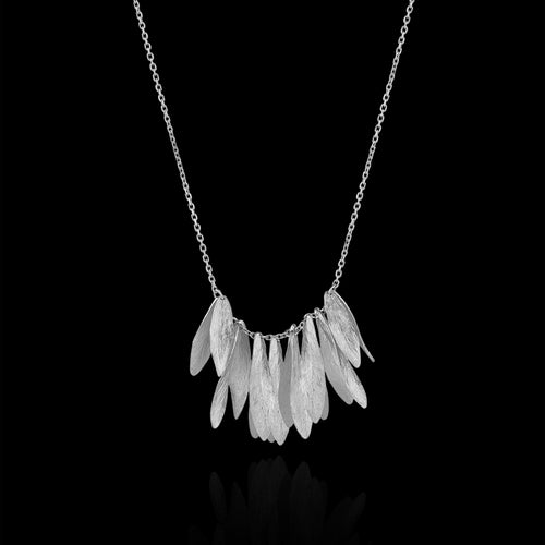Silver Leafy Jingle Necklace by jewellery Designer Catherine Zoraida