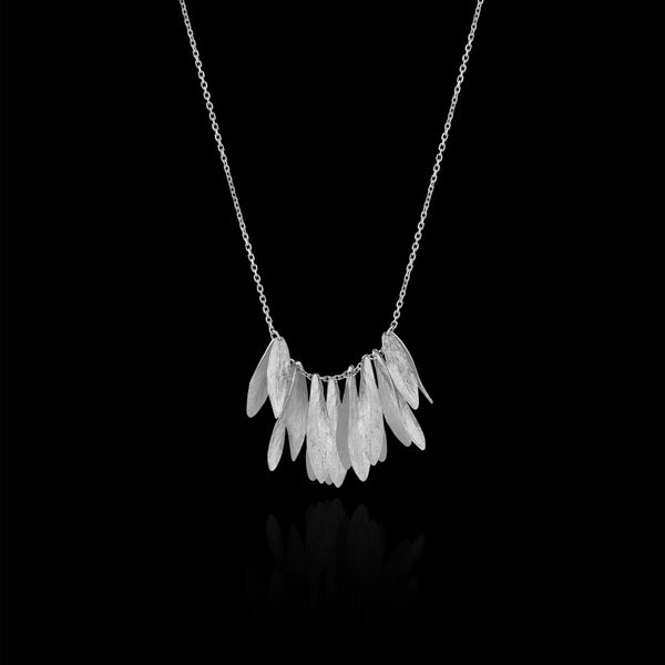 Silver Leafy Jingle Necklace by Designer Catherine Zoraida