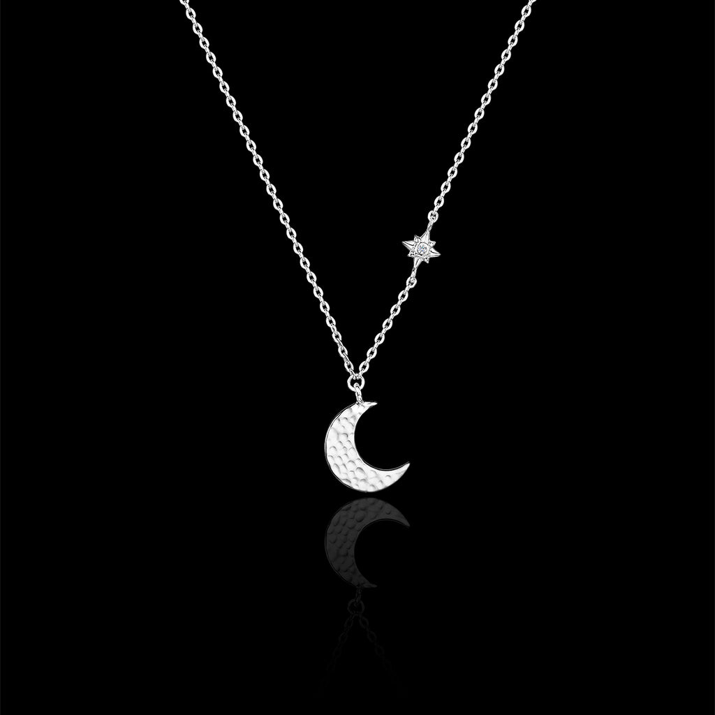 Silver Hammered Moon and Star Necklace catherine zoraida