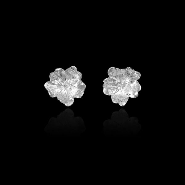 Silver Primrose Stud Earrings