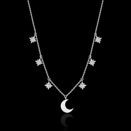 Starry Night Moon and Star Drop Necklace