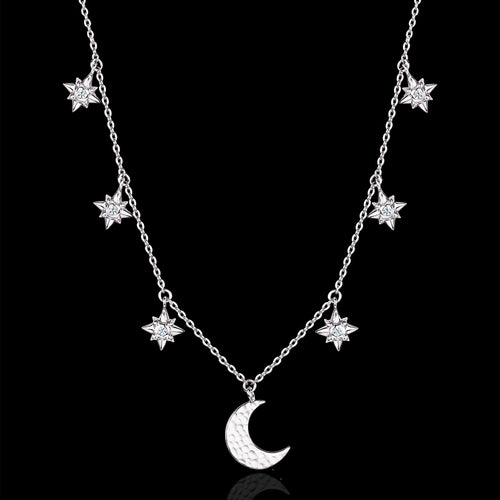 Silver Starry Night Moon and Star Necklace by catherine zoraida